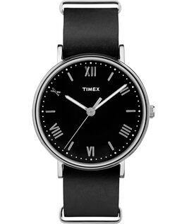 Southview 41mm Leather Watch Silver-Tone/Black large