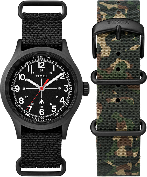 Timex x Todd Snyder Military Inspired 40mm Fabric Strap Watch with Extra Strap Black/Green large