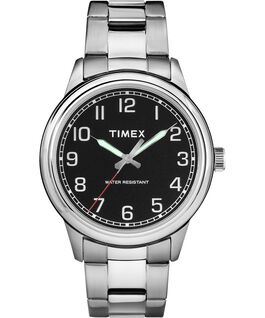 New England 40mm Stainless Steel Watch Silver-Tone/Black large