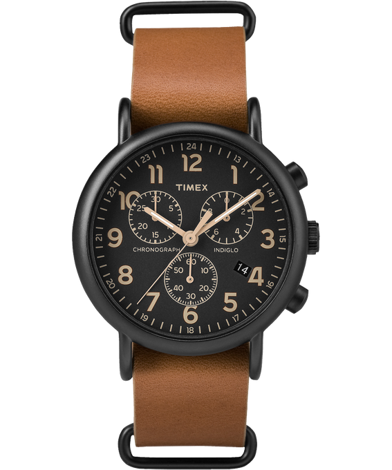 Weekender Chrono 40mm Dark Leather Watch Black/Tan large