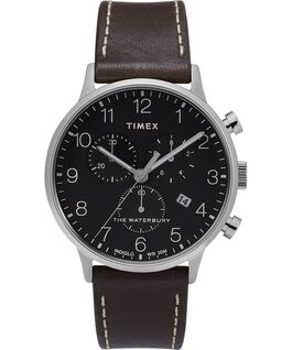 Waterbury 40mm Classic Chrono with Leather Strap Watch Stainless-Steel/Brown/Black large