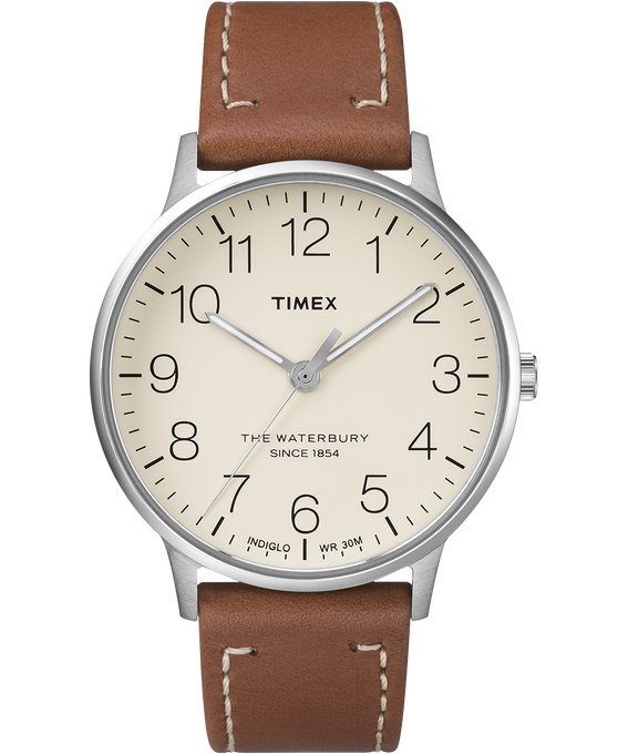 Waterbury 40mm Classic Leather Strap Watch Stainless-Steel/Brown/Cream large