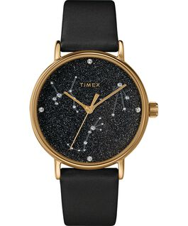 Celestial Opulence 37mm Textured Strap Watch Gold-Tone/Black-LIBRA,SCORPIO,SAGGITARIUS large