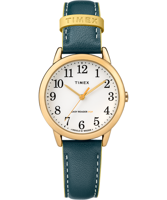 Easy-Reader-30mm-Exclusive-Color-Pop-Leather-Womens-Watch Gold-Tone/Blue/White large