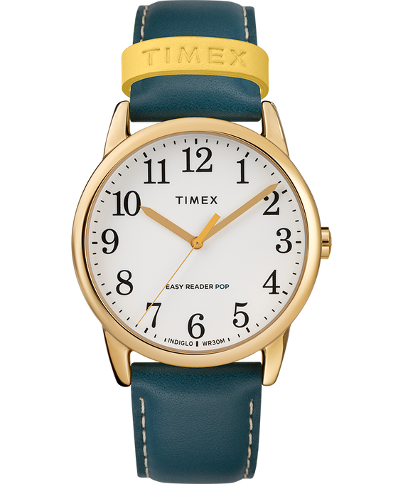 Easy-Reader-38mm-Exclusive-Color-Pop-Leather-Womens-Watch Gold-Tone/Blue/Cream large