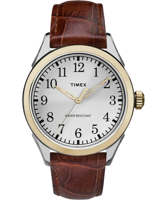 Briarwood Terrace 40mm Leather Watch Two-Tone/Brown/Silver-Tone large