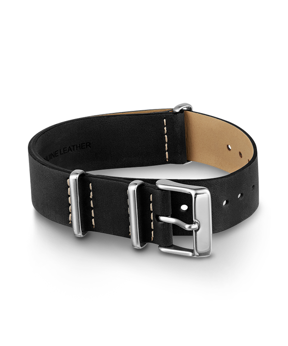 20mm Slip Thru Leather Strap Black large