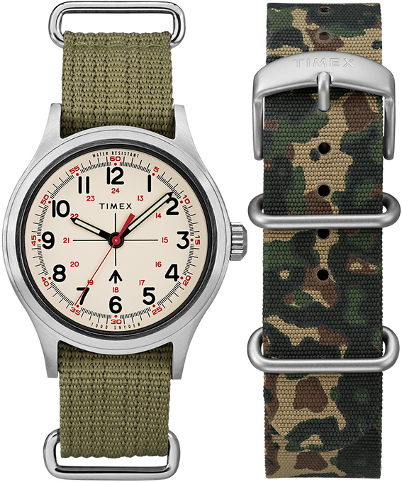 Timex x Todd Snyder Military Inspired 40mm Fabric Strap Watch with Extra Strap Silver-Tone/Green/White large