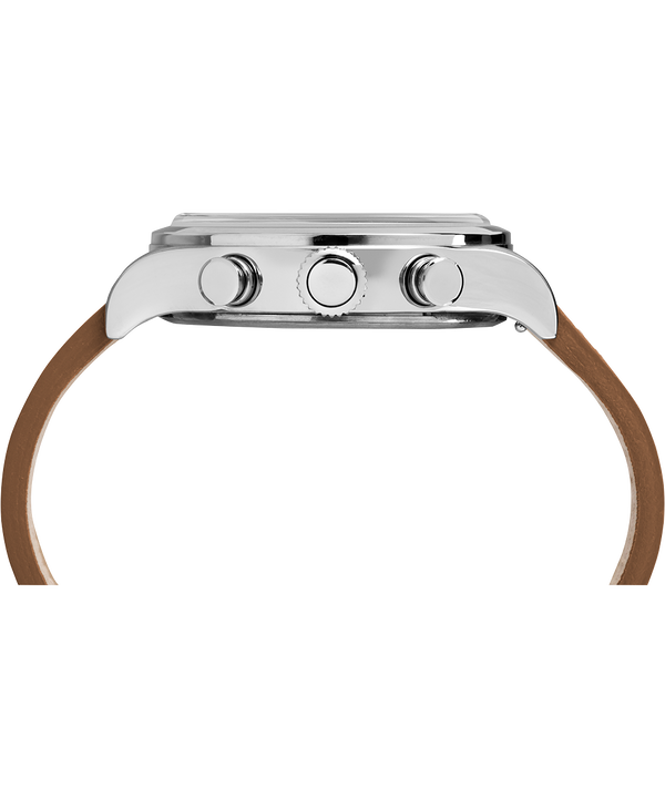 Chronograph Numbered Dial 42mm Leather Watch in Tan - Side View