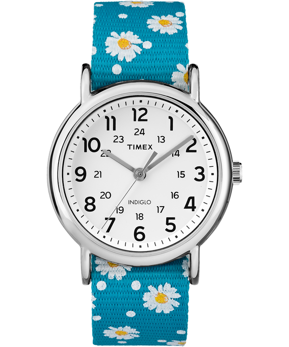 Weekender Patterns 38mm Nylon Strap Watch Chrome/Blue/White large