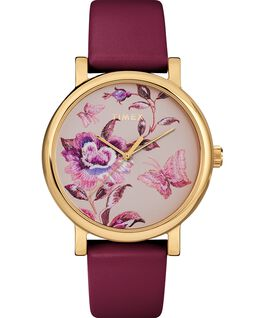 Full Bloom 38mm Leather Strap Watch Gold-Tone/Burgundy/Pink large