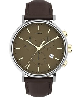 Fairfield Chronograph 41mm Leather Strap Watch Tan/Two-Tone/Tan large