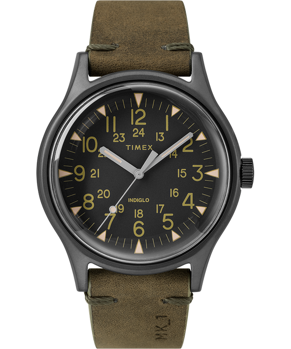 MK1 Steel 40mm Leather Strap Watch Gray/Green/Black large