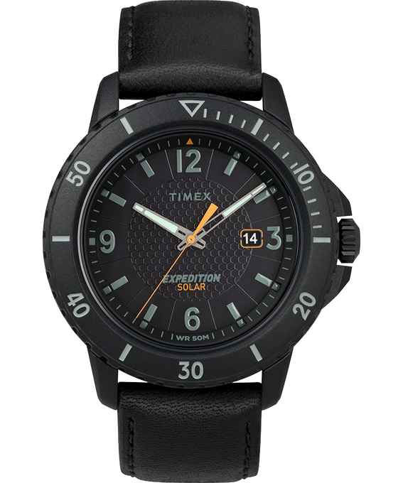 Expedition Gallatin Solar 45mm Leather Strap Watch Black large