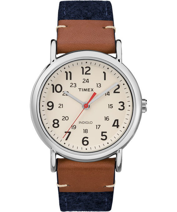 Weekender 38mm Fabric with Leather Watch Silver-Tone/Blue/Cream large