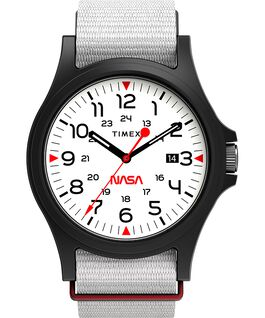 Acadia 40mm Fabric Strap Watch Featuring NASA Logo on Dial Black/White large