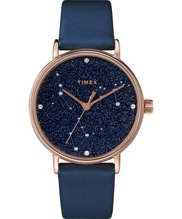 Celestial Opulence 37mm Textured Strap Watch Rose-Gold-Tone/Blue large