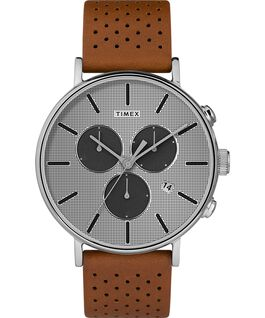 Fairfield Supernova 41mm Leather Strap Watch Brown/Silver large