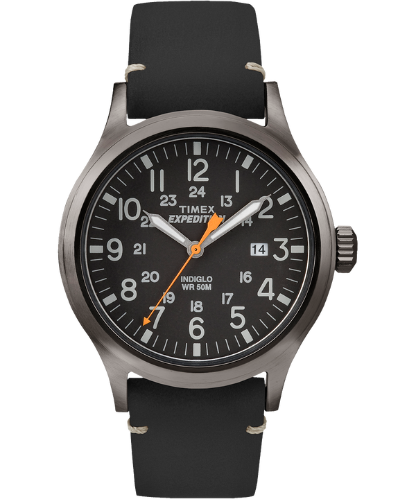 Expedition Scout 40mm Leather Strap Watch Gray/Black large