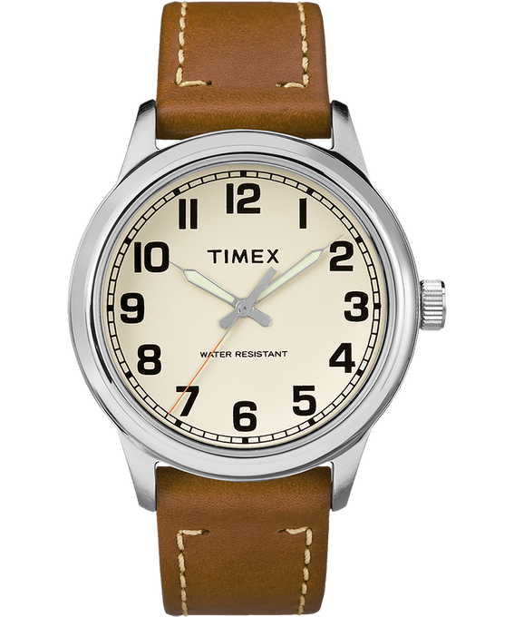 New England 40mm Leather Watch Silver-Tone/Brown/Cream large