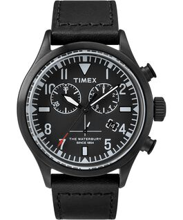 Timex x Todd Snyder Waterbury Chronograph 42mm Leather Strap Watch Black large