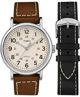 Weekender 40mm 2 Piece Leather Strap Watch Gift Set Chrome/Brown/Cream large