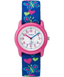 Kids Analog 29mm Elastic Patterned Fabric Watch Pink/Blue/White large