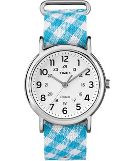 Weekender Patterns 38mm Fabric Strap Watch Chrome/Blue/White large