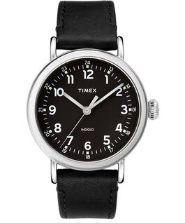 Standard 40mm Leather Strap Watch Silver-Tone/Black large