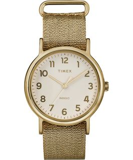 Weekender 38mm Metallic Fabric Strap Watch Gold-Tone/Cream large