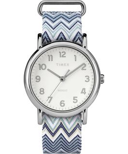 Weekender Chevron 38mm Fabric Strap Watch Chrome/Blue/Cream large