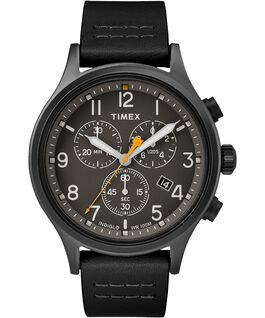 Allied Chronograph 42mm Leather Watch Black large