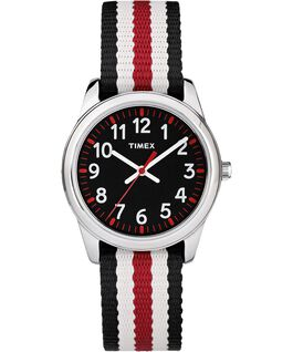 30mm Kids Striped Nylon Analog Watch Silver-Tone/Black large