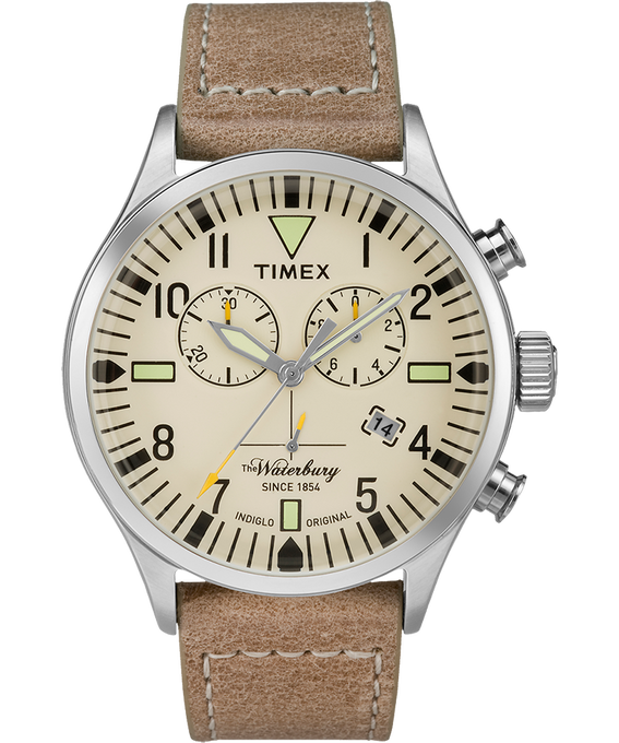 Waterbury Traditional Chronograph 42mm Leather Watch Stainless-Steel/Tan/Natural large