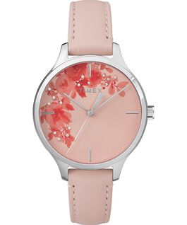 Crystal Bloom With Swarovski® Crystals 36mm Leather Strap Watch Chrome/Pink large