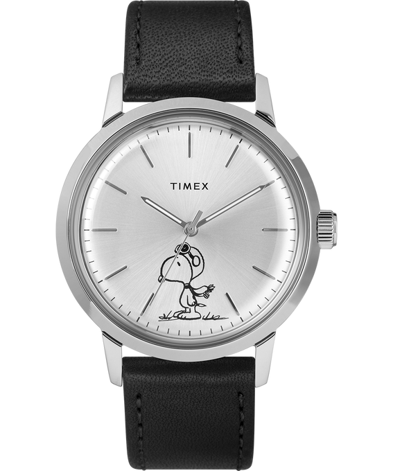 Marlin® Automatic Featuring Snoopy 40mm Leather Strap Watch  Black/Silver-Tone large