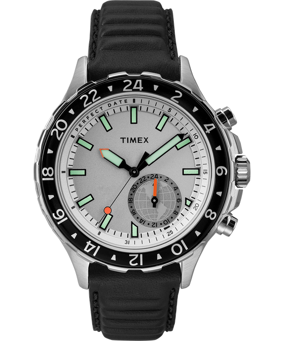 iQ+ Move Multi-Time 43mm Leather Watch Silver-Tone/Black/White large