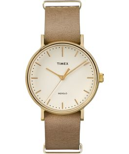 Fairfield 37mm Leather Strap Womens Watch Gold-Tone/Tan/White large