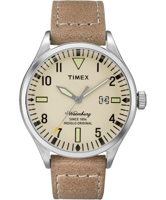 Waterbury 40mm Leather Watch Stainless-Steel/Tan/Natural large