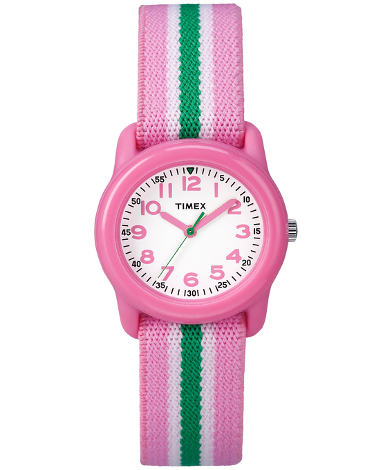 Kids Analog 29mm Elastic Fabric Watch Pink/White large