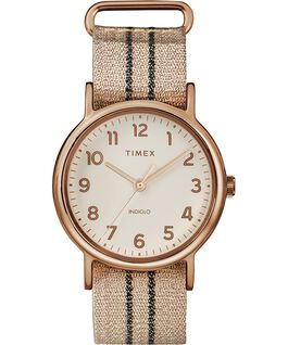 Weekender 38mm Metallic Stripe Fabric Watch Rose-Gold-Tone/Pink/Cream large