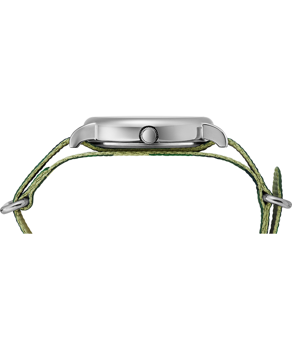 Weekender 40mm Camo Fabric Strap Watch Silver-Tone/Camo/Cream large