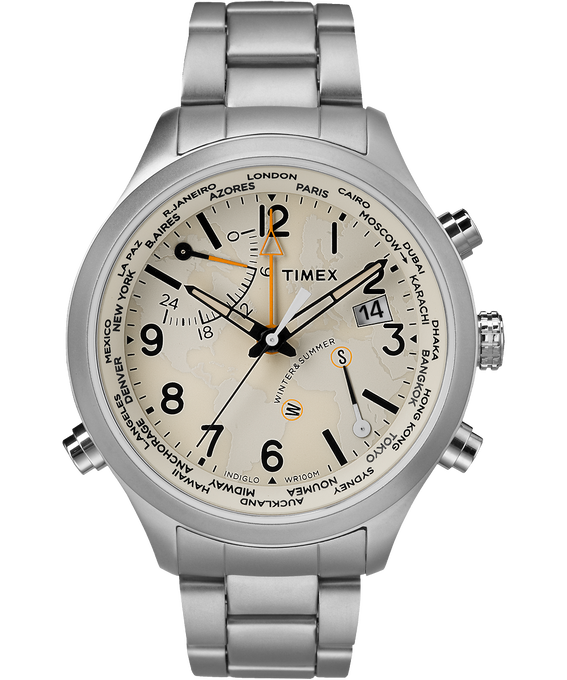 Waterbury World Time 43 mm grande, acier inoxydable