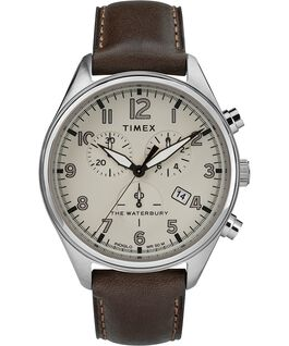 Waterbury Traditional Chronograph 3-Dial 42mm Leather Strap Watch Stainless-Steel/Brown/Tan large