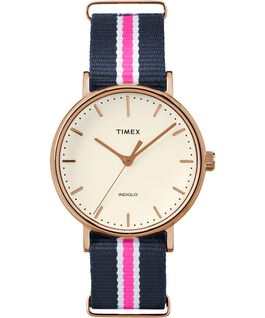 Fairfield 37 mm grande, bracelet en nylon ton or rose/bleu/blanc