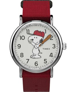 Snoopy 38mm Nylon Strap Watch Silver-Tone/Red/White large