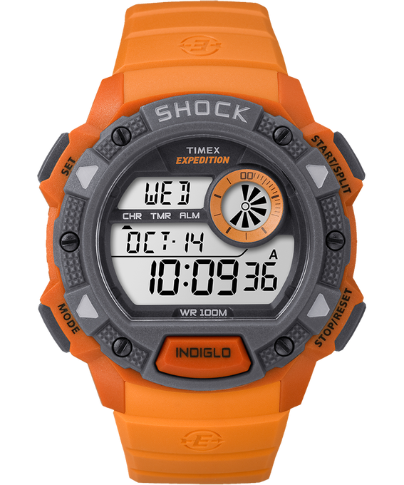 Expedition Base Shock Gauge 45mm Resin Strap Watch Orange/Gray large