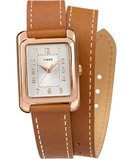 Addison Double Wrap 25mm Leather Strap Watch Rose-Gold-Tone/Tan/Silver-Tone large