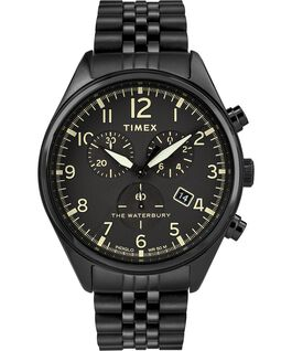 Waterbury Traditional Chronograph 3-Dial 42mm Stainless Steel Bracelet Watch Black large