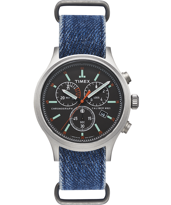 Allied Chronograph 42mm Denim Strap Watch  large